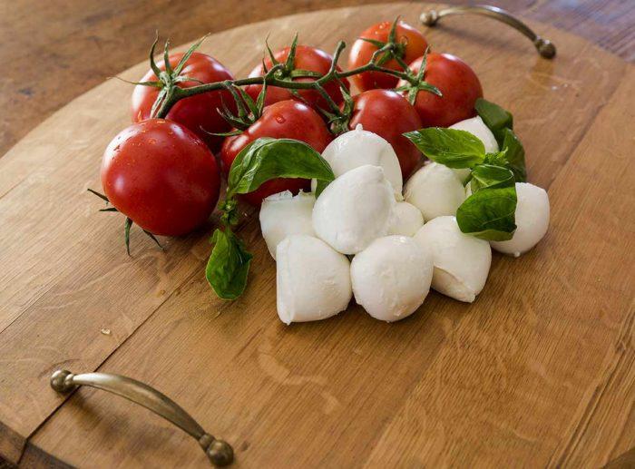 cherry tomatoes and fresh mozzarella