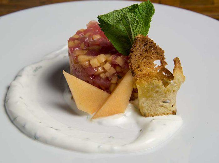 Salmon tartare with corn